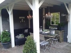 outdoor backyard room - love this Outdoor Rooms, Outdoor Dining, Outdoor Gardens, Outdoor Decor, Pergola, Gazebo, Porch Veranda, Porch And Balcony, Porches