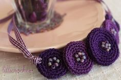 Crochet necklace, circles and beads