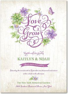Enduring Enchantment - Signature White Textured Wedding Invitations in Deep Plum or Mist | Lady Jae
