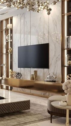 Tv Set Design, Tv Wall Design, House Design, Tv Unit Bedroom, Twin Girl Bedrooms, Tv Furniture, Marble Wall, Living Room Tv, Luxurious Bedrooms