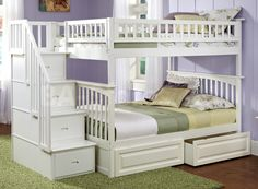 Staircase Bunk Beds - I think this is an amazing and practical bunk bed set! Check out all the storage drawers. This particular set is a full bed over another full bed, too. Why can't you make this for your kid's room or for a cottage by the lake where you get lots of company?