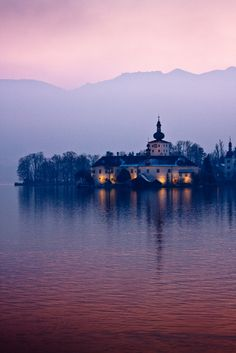 """Schloss Orth #03"" by iPhil on Flickr - Schloss Ort is an Austrian castle that is situated on the Traumsee Lake in Gmunden, Austria.  This lovely photo was taken at sunset."