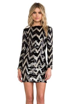 DRESS THE POPULATION Lola Long Sleeve Mini Dress in Black & Tan from REVOLVEclothing