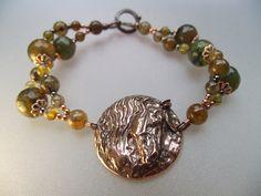 Baroque horse disc pendant