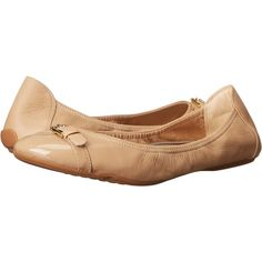 Cole Haan Jenni Buckle Ballet II (Sandstone Leather/Patent) Women's...  ($85) ❤ liked on Polyvore featuring shoes, flats, gold, leather flats, cole  haan ...