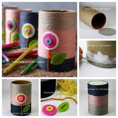 Dress up your office desk with these cute little pencil holders, then make some to give as gifts.  Step by step--> http://wonderfuldiy.com/wonderful-diy-yarn-pencil-holder-from-paper-rolls/