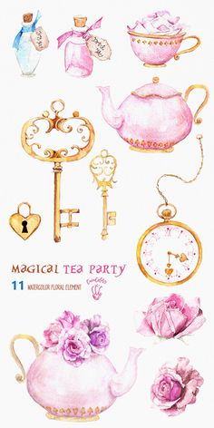 Alice in Wonderland Watercolor Artwork for your Scrapbook Making, Tea Party Decorations, Birthday Card Design & more. Get creative with this set of Digital Clipart resources!