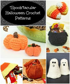 Halloween Pumpkin Trick or Treat Bag Crochet Pattern - Petals to Picots Crochet Fall, Holiday Crochet, Diy Crochet, Crochet Crafts, Yarn Crafts, Crochet Toys, Crochet Projects, Crochet Ideas, Crochet Things