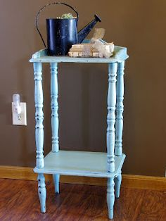 Aqua vintage side table I painted with chalky paint and distressed       http://www.restorationredoux.com/?p=8