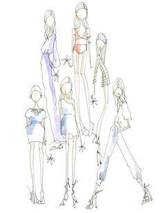Resort byTibi #sketch #illustration #fashion.  Black line sketches with just a touch of color.