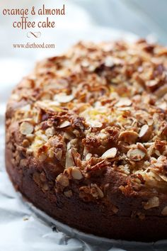 Orange and Almond Coffee Cake | www.diethood.com | Tender, rich, citrusy and sweet Orange coffee cake topped with a delicious Almond and Coconut Streusel topping. | #recipe #coffeecake #breakfast