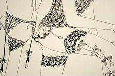 Makiko Sugawa. Fashion lingerie illustration on Artluxe Designs. #artluxedesigns