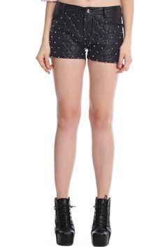 ROMWE | ROMWE Rivet Embellished Black Faux Leather Shorts, The Latest Street Fashion