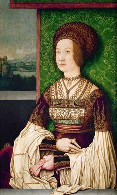 Bernhard Strigel (1460-1528)  —  Portrait of Empress Bianca Maria Sforza, 1505-1510 : Ambras Castle, Innsbruck.  Austria (963×1600)