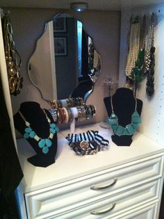 Jewelry station in my new dressing room! Le chic!