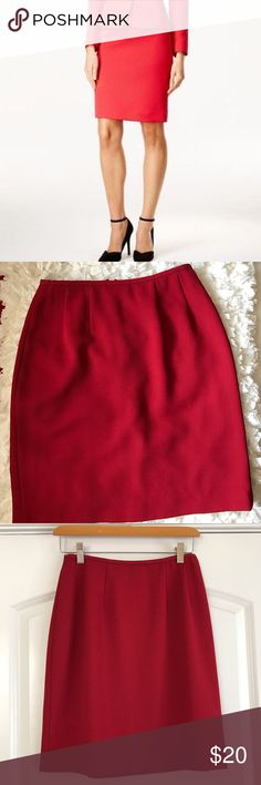 """Tahari ASL Crepe Pencil Skirt Red pencil with vented slit by Tahari. Hidden zip and hook in back. Fully lined. Length 19.5"""", across waist 13"""". Tahari Skirts Pencil"""