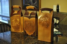 Custom Made Leather Wine Bag Carriers by Blake Underwood | CustomMade.com-SR