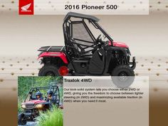 New 2016 Honda Pioneer 500 ATVs For Sale in Tennessee. 2016 Honda Pioneer 500, 2016 Honda® Pioneer 500 Go More Places On A Pioneer 500. The Pioneer 500 is a brilliant concept: Like a full-sized side-by-side, it lets you take a passenger along and has the off-road capability to get you where you need to go. But the Pioneer 500 is a new take on the SxS formula: it s narrow, fits on tight trails, is fun to drive and easy to load into a full-size truck bed. But you still get a full-sized list of…
