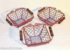 ESTATE FIND! Lot of 3 Small Red Vintage Chicken Wire Baskets w/Wood Handles