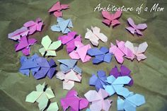 Architecture of a Mom: Origami Butterfly Art http://www.architectureofamom.com/2012/05/origami-butterfly-art.html