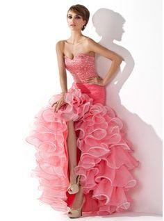 Trumpet/Mermaid Sweetheart Asymmetrical Organza Satin Prom Dress With Ruffle Beading Sequins (018005075) - JJsHouse