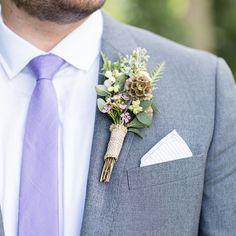 Purple groomsman perfection with a jaw-dropping boutonniere to match. Xoxo @weddingchicks #boutonniere #groomsmen #wedding #purple