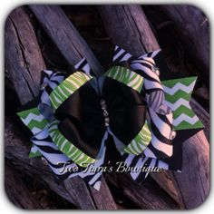 Green and Zebra Bling Boutique Bow on Etsy or Facebook by Two Tiara's Bowtique