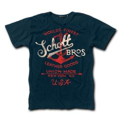 A classic Schott T-shirt that—just like its leather motorcycle jacket line—is proudly made in the USA. Pre-shrunk 100-percent cotton with original design.