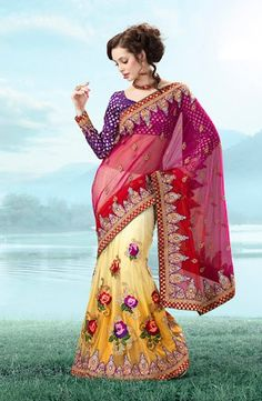 Luminous yellow and red lehanga style saree from  kopanaa