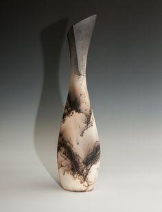Tall cream and black horse hair vase. by DakotaBones on Etsy, $110.00