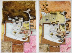 'hubin's house project' drawings 1987 in in sotheby's gaetano pesce retrospective exhibition in paris, france