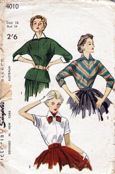 1950s Vintage Sewing Pattern Womens Blouses Simplicity 4010 Bust 34. via Etsy.