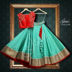 Red and sea green crop top lehenga! To order please call/ WhatsApp on… Choli Designs, Lehenga Designs, Blouse Designs, Indian Wedding Outfits, Indian Outfits, Pakistani Outfits, Traditional Fashion, Traditional Dresses, Indian Attire