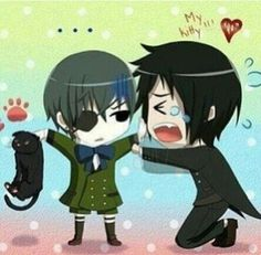 Black Butler Sebby, Ciel, and Kittty