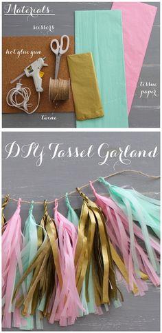 DIY Instructions for Tassels Garland by Linen Lace Love Diy Birthday Decorations, Birthday Diy, Birthday Parties, Hippie Party, Tassel Garland, Tassle Garland Diy, Baby Party, Birthday Balloons, Diy Wedding