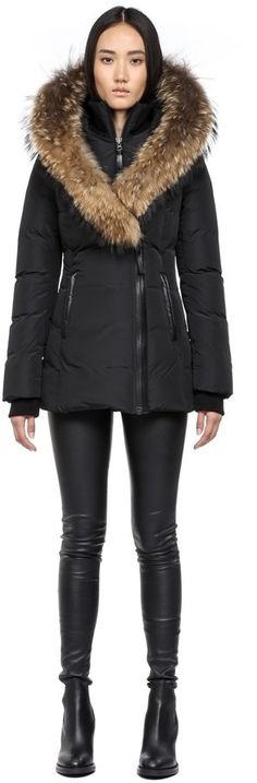 Mackage Adali-F4 Black Fitted Winter Down Coat With Fur Hood on shopstyle.com
