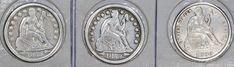 U.S.A(3) COINS LIBERTY SEATED DIME 1853 W/A VF,1853 O VF,1890 VF 0.9000 SILVER