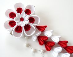 Kanzashi Fabric Flower hair clip with falls. Red and white fabric flower. Red…