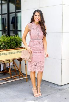 0a2a065c914 Beautiful Pink Lace Sheath Dress for Spring or Wedding Season