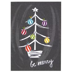 [ Christmas Tree Themes : Illustration Description Spread holiday cheer with this charming and chalky illustration of a brightly decorated tree. Christmas Rock, Christmas Tree Cards, Christmas Signs, Christmas Decorations, Christmas Crafts, Handmade Christmas, Chalkboard Drawings, Chalkboard Lettering, Chalkboard Designs