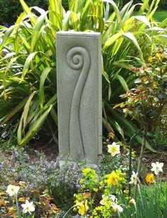 New Zealand koru sculpture with native flax behind New Zealand koru sculpture with native flax behin Concrete Sculpture, Concrete Art, Concrete Projects, Stone Sculpture, Modern Sculpture, Garden Totems, Garden Art, Garden Design, Garden Soil