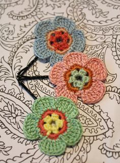 Pink Green and Blue Crochet Flower Hair Pins by CatWomanCrafts, $10.00