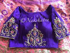in - Beautiful pink color lehenga and purple color boat neck blous.in – Beautiful pink color lehenga and purple color boat neck blouse with floret lat - South Indian Blouse Designs, Best Blouse Designs, Saree Blouse Designs, Blouse Patterns, Boat Neck Saree Blouse, Trendy Sarees, Indian Designer Wear, Pink Color, Pink Purple