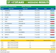 #SportStake13 Weekend Results - 16 June 2018  https://www.playcasino.co.za/sportstake-weekend-results.html