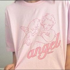 e1cec9550920 Fashion Kawaii Angel Printed Women t shirts 2018 Summer Loose Short Sleeved  Casual Clothing Pink Cotton Top Tees Vogue t Shirts