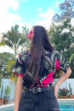 Floral Womens Hawaiian shirt black with plumeria