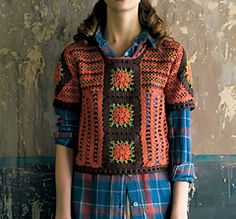 Short-sleeved Pullover with Square Motifs by Keiko Okamoto (岡本啓子)