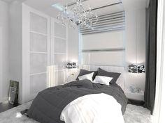 Dieses Schlafzimmer Akzente seiner Fett weiß Modernismus mit einem traditionellen Stil, glänzendes Chrom Kronleuchter. Weiße Wände und Lagerung Kontraste tief mit dunklen grau Bettwäsche, Vorhänge und Bodenbeläge.