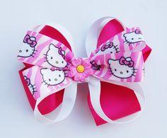 GIRLS HAIR BOW Hello Kitty Cupcake hair bow for girls by pixieclip, $6.50