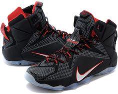 c22bbedfa89a0 Nike Lebron 12 Black White Red Online SALE